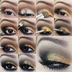 Passo-a-passo-maquiagem-dourada-e-preto-tudo-make-200000 : via Tudo Make – Maior blog de maquiagem, beleza e tutoriais de Curitiba.