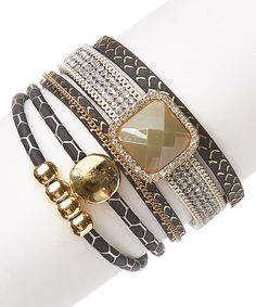 Take a look at this Crystal & Leather Infinity Wrap Bracelet today!