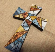 Stained Glass Designs, Mosaic Designs, Stained Glass Patterns, Mosaic Patterns, Blue Mosaic, Mosaic Wall, Mosaic Glass, Mosaic Tiles, Cross Wall Decor