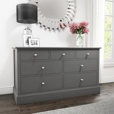 Buy Harper Grey Solid Wood 4+3 Wide Chest of Drawers from Furniture123 - the UK's leading online furniture and bed store