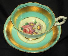 PARAGON TURQUOISE BLUE GREEN PINK ROSE GOLD ETCH TEA CUP AND SAUCER