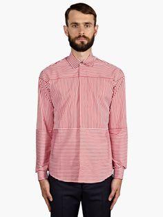 Jonathan Saunders Men's Contrast Stripe Cotton Shirt