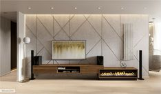 Apartment in light tints wit the elements of art-deco Bed Design, Wall Design, Modern Tv Wall Units, Living Room Tv Unit Designs, Decorative Plaster, Wall Cladding, Master Bedroom Design, Ceiling Design, Living Room Decor