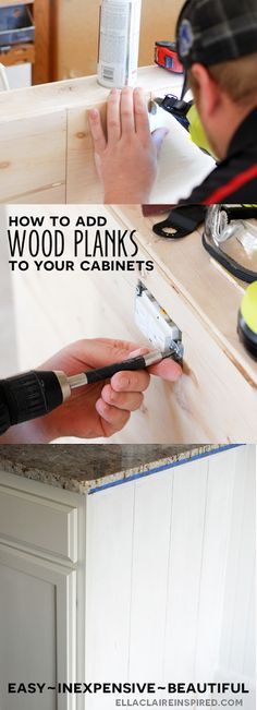 How to Add Wood Plank to your Cabinets DIY Tutorial by Ella Claire