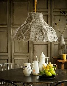 Make over a plain pendant shade by cloaking it in wool.