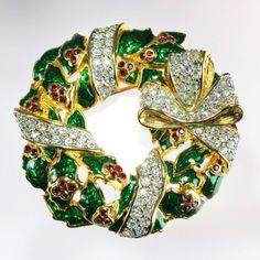 SOLD! Vintage Swarovski Christmas Wreath Brooch Pin Enamel Crystal Rhinestone - Swan Signed