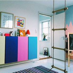 Eclectic kids room with Ikea Ivar cabinets
