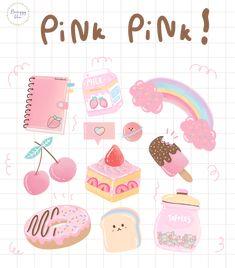 Kawaii Stickers, Diy Stickers, Printable Stickers, Journal Stickers, Planner Stickers, Korean Stickers, Cute Kawaii Drawings, Cute Doodles, Kawaii Wallpaper