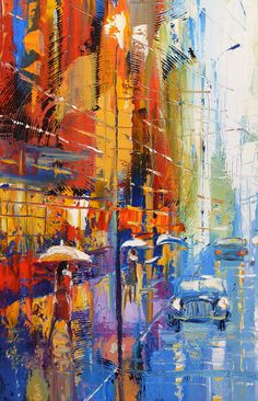 Blue taxi Palette Knife oil painting on canvas by by spirosart