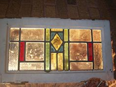 "Art Deco Stunning 4 colors Antique Stained Glass Window, Size 23.5"" x 13"""