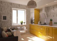 diseño de muebles para una cocina brillante