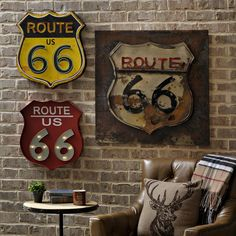 If you love rustic and retro wall decor, then our Route 66 Metal Plaques are just what you need for your media room! Available in two styles, you can choose a bright yellow piece with colorful pop up wire details or a red piece with LED marquee lights! Car Bedroom, Car Themed Bedrooms, Kids Bedroom, Route 66 Decor, Rustic Room, Rustic Wall Decor, Yellow Accent Walls, Brick Accent Walls, Room Themes
