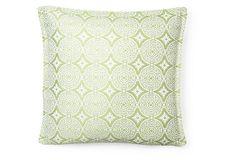 Medallion 18x18 Outdoor Pillow, Green on OneKingsLane.com