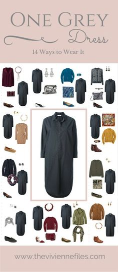 One Dark Grey Dress in a Capsule Wardrobe: 14 Ways to Wear It