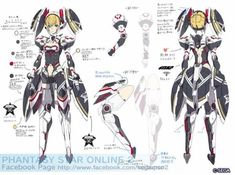 Character Model Sheet, Character Creation, Character Concept, Girls Characters, Anime Characters, Phantasy Star Online 2, Fantasy Star, Cyberpunk Clothes, Female Armor