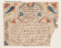 "ROCKINGHAM CO., VA FRAKTUR BIRTH CERTIFICATE, PETER BERNHART, 1810, watercolor and ink on paper, signed and dated across the bottom edge, featuring traditional birds, tulip, other flowers, and vines. Central German inscription for Jacob Wittmer, born February 4th, 1804, to Maria (Kapp/Rapp) and Jacob Wittmer, Rockingham Co. First quarter 19th century. 6 1/2"" x 8"". Provenance: The Glick estate, Broadway, VA. $1400, Green Valley Auctions, 06-28-2008."