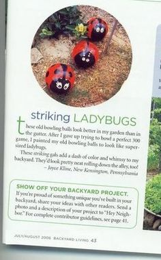 """Ladybug Bowlinf Balls: by doing a Google search. Just enter """"ladybug bowling balls"""" and you'll get links to many articles, forum discussions and such. Or use Google's image search to instantly see lots of painted ladybug examples."""