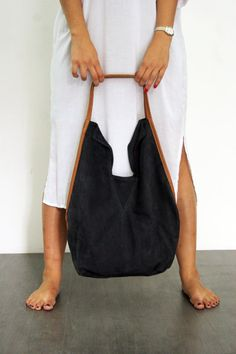 Navy blue leather tote bag- Soft leather bag - Charley bag