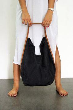 Navy blue leather tote bag-  Soft leather bag - Charley bag