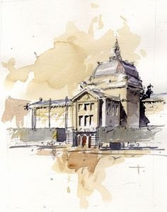 Zagreb Arts Pavilion- 2 by Tony Belobrajdic Watercolor Architecture, Watercolor Landscape, Architecture Art, City Painting, Painting & Drawing, Watercolor Sketch, Watercolor Paintings, Illustration Manga, Illustrations