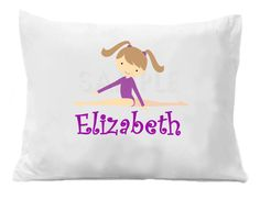 Gymnastics Pillow Case Personalized by TheTrendyButterfly on Etsy, $20.00