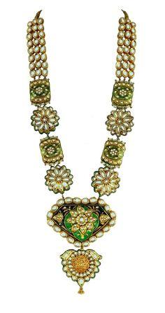 green and gold long raani haar, meenakari necklace