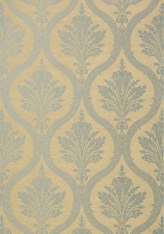 CLESSIDRA, Metallic Silver on Tan, T89174, Collection Damask Resource 4 from Thibaut