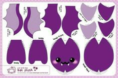 Colorful fabrics digitally printed by Spoonflower - Cut & Sew Purple Bat Plush This plush bat has all the details printed and is ready to cut and sew straight from the fabric! Cute Crafts, Felt Crafts, Fabric Crafts, Sewing Crafts, Sewing Projects, Sewing Ideas, Sewing Tips, Sewing Stuffed Animals, Stuffed Animal Patterns