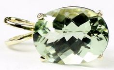 P006, 14x10mm 7ct, Green Amethyst, 14KY Gold * Stone Type - Green Amethyst * Approximate Stone Size - 14x10mm  * Approximate Stone Weight - 7 cts  * Jewelry Metal - Solid 14k Yellow Gold * Approximate Metal Weight - 1.6 grams  * Our Warranty - A full year on workmanship  * Our Guarantee - Totally unconditional 30 day guarantee