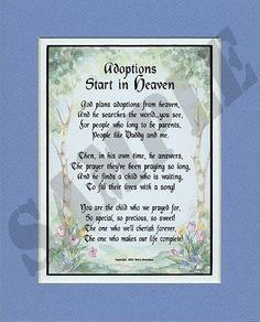 """Adoptions Start In Heaven"" Touching 8x10 Poem, Double-matted in Blue/White And Enhanced With Watercolor Graphics. An Adoption Gift.:Amazon:Home & Kitchen"