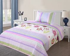 GorgeousHome Kids 2Piece Twin Soft 7 Multicolor Printed Quilt Coverlet Bedspread Pillow Case Bed Bedding Set For Girls >>> You can get additional details at the image link.