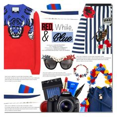 """Red, White and Blue Fashion"" by bibibaubau ❤ liked on Polyvore featuring Dolce&Gabbana, Gucci, Arche, STELLA McCARTNEY, Bling Jewelry, Anna-Karin Karlsson, NARS Cosmetics, Estée Lauder, Captain Blankenship and Eos"