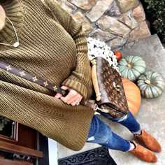 IG @mrscasual <click through to shop this outfit> Oversized Olive Sweater Louis Vuitton Pochette Metis