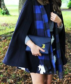 Navy Cape Coat Detail | Layered Fall Fashion Style | The Elgin Avenue Blog
