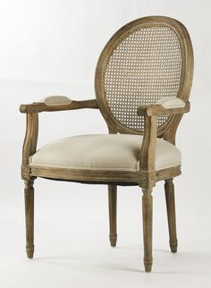 Linen Cane Back Arm Chair with Gray Oak Wood