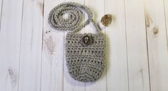 Crochet Crystal Pouch with Skull Button