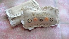 Linen Pin Cushion and Needlebook Handmade by RedesigningVintage, $34.00