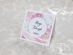 Winietki ślubne kwiatowe dekorowane wstążką satynową oraz cyrkonią, ręcznie robione wizytówki na wesele.