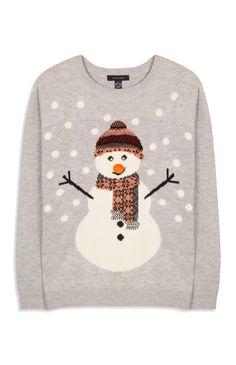 Primark - Weihnachtspullover mit Schneemannprint