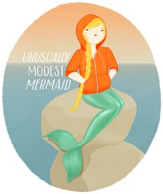By Kristina of Krisatomic. Love the colors love the t - Mermaid T Shirt - Ideas of Mermaid T Shirt - Unusually Modest Mermaid. By Kristina of Krisatomic. Love the colors love the tail. And the hilarious idea. Just For Fun, Just For Laughs, Just In Case, Sirens, Miss Moss, Merfolk, The Funny, Funny Art, Funny Pics