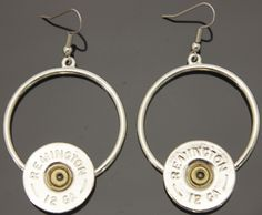 Shotgun Circle Dangle Silver Earrings