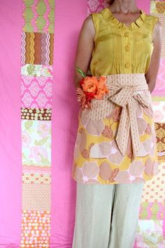 Amy Butler's Midwest Modern 2 fabrics with Nora's Mid Mod Quilt and The Domestic Goddess Apron