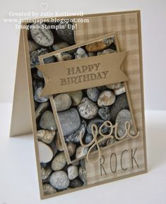Julie Kettlewell - Stampin Up UK Independent Demonstrator - Adventure Bound DSP, Hello You Thinlits Dies, Skinny Mini Alphabet, Guy Greetings Photopolymer You Rock! Bday Cards, Birthday Cards For Men, Handmade Birthday Cards, Greeting Cards Handmade, Male Birthday, Masculine Birthday Cards, Masculine Cards, Tri Fold Cards, Fathers Day Cards