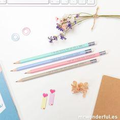 Set de 4 lápices bonitos con mensajes #pencil #stationery #mrwonderfulshop
