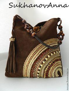 """Сумка """"Шоколадный десерт"""" - коричневый,сумка замшевая,сумка шоколадная"""