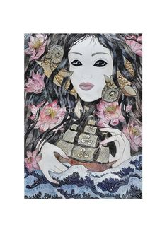 Items similar to Sea Goddess art Mermaid print Sea witch altar Triple Spiral Trisquel Celtic rune Siren illustration Pagan decor Asatru North heather gift on Etsy Watercolor And Ink, Watercolor Paintings, Original Paintings, Celtic Runes, Celtic Shamrock, Siren Mermaid, Eye Illustration, Sea Witch, Gothic