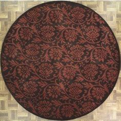 Handmade Circular Modern Style Area Rug in Black with Burgundy Accents, 8x8 area rugs
