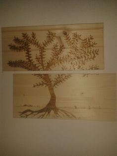 Tree. Pyrography.