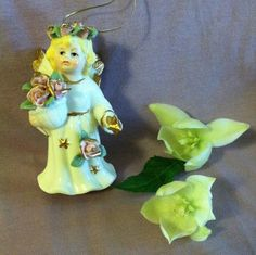 Angel Bell Ornament Vintage Autom Porcelain Angel by pammaggio