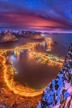 Lights From a Height, Lofoten, Norway – Amazing Pictures - Amazing Travel Pictures with Maps for All Around the World Lofoten, Places Around The World, The Places Youll Go, Places To See, Around The Worlds, Beautiful World, Beautiful Places, Beautiful Norway, Wonderful Places